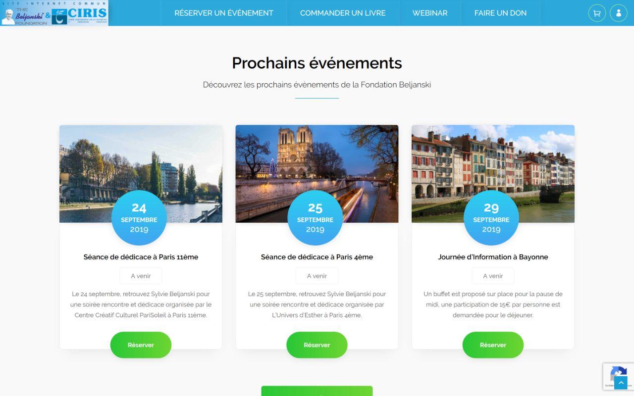 Création site Wordpress pour les évènements de la Fondation Beljanski