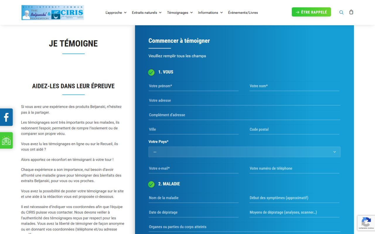 Refonte site Wordpress Fondation Beljanski