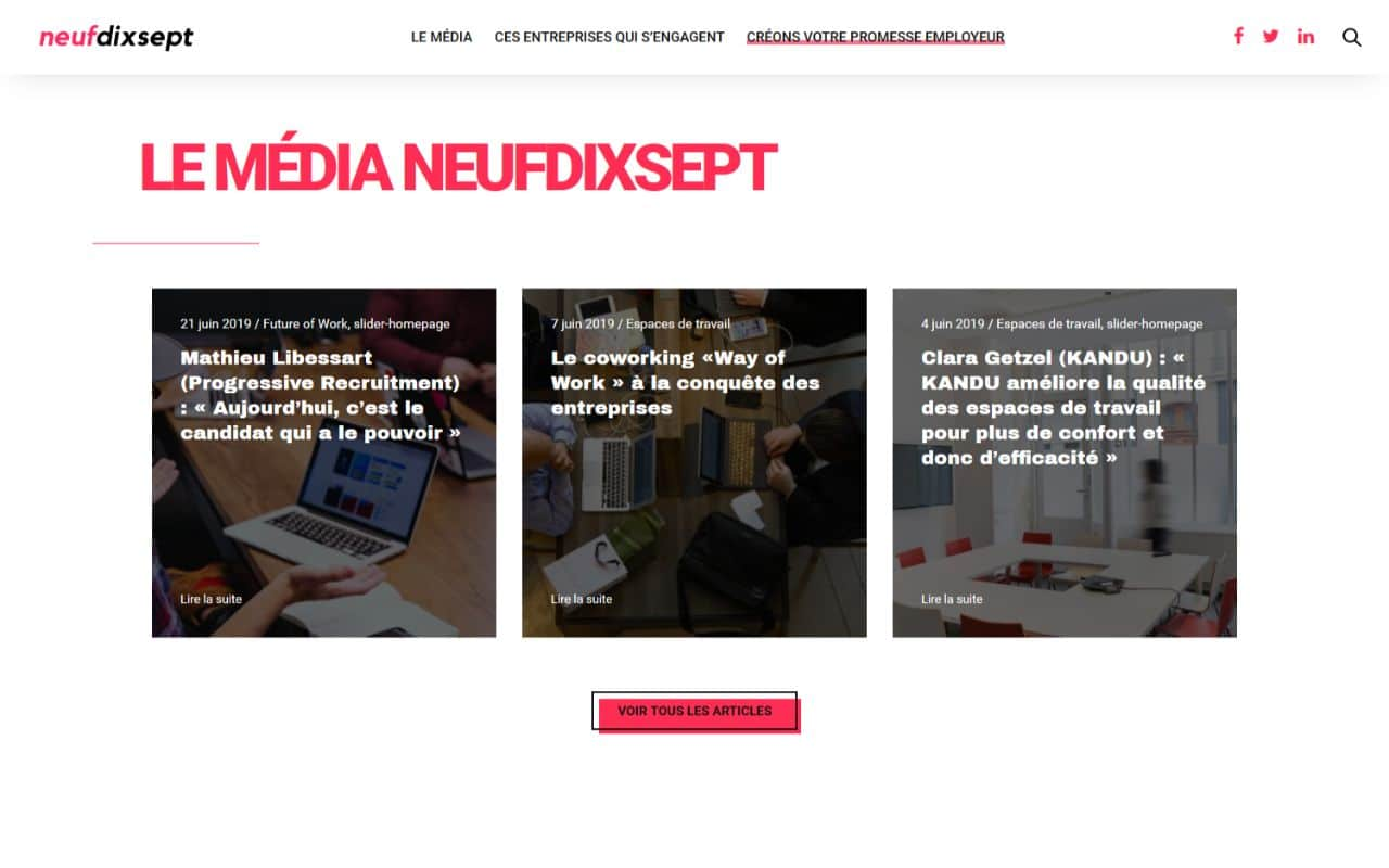 Refonte site internet Wordpress magazine Neufdixsept